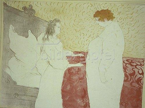 Henri de Toulouse-Lautrec: Femme au lit, profil - Au petit lever / Frau im Bett, Profilansicht - Bei der morgendlichen Aufwartung. 1896.