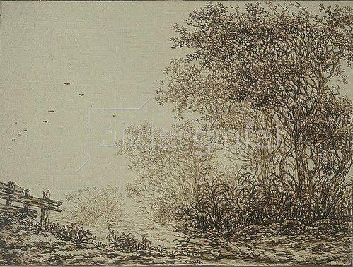 Adriaen Verboom: Landschaft mit Bäumen und Weidegatter.