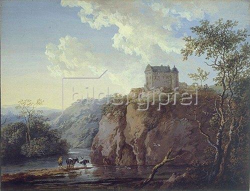 Maria Dorothea Wagner: Burg auf einem Felsen über einem Flusstal, im Vordergrund ein Bauer mit zwei Mauleseln.
