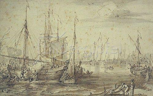 Cornelis Claesz van Wieringen: Hafenansicht mit Schiffswerft.