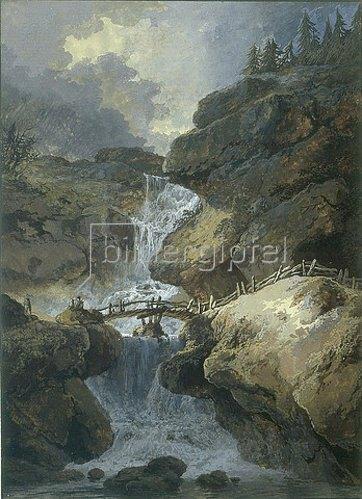 Heinrich (Johann Heinrich) Wuest: Wasserfall in einer Felsenschlucht, über die ein Holzsteg führt, links ein heranziehendes Gewitter.