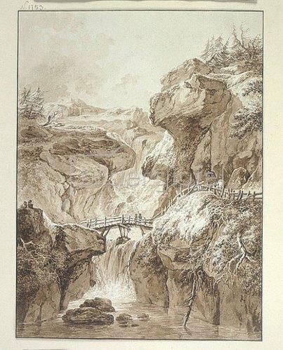 Heinrich (Johann Heinrich) Wuest: Wasserfall in einer Gebirgsschlucht, über die ein Holzsteg führt.