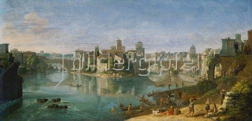 Gaspar Adriaens van Wittel: Die Tiber-Insel in Rom. 1685