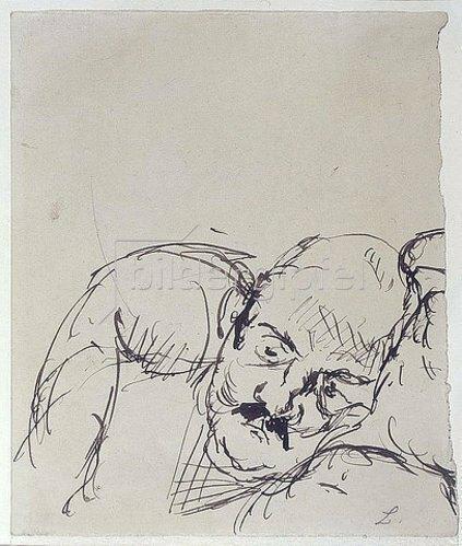 Max Beckmann: Ugi Battenberg, auf einem Kissen ruhend. 1917