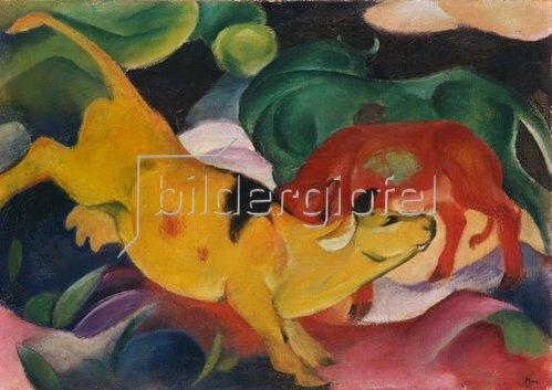 Franz Marc: Kühe gelb-rot-grün. 1912.