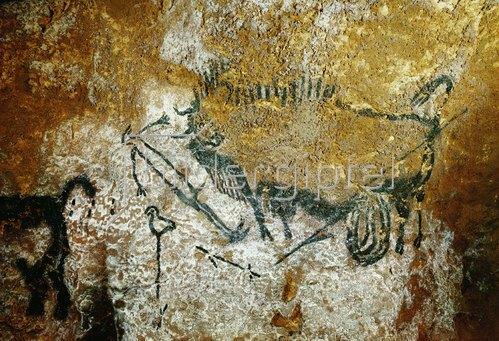 Unbekannter Künstler: Höhle von Lascaux 17000 v. Chr. Verwundeter Bison, Länge 110 cm, ausgestreckter Mensch und Stange mit Vogel.