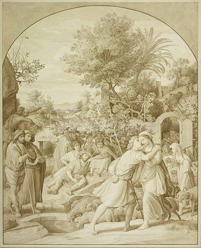 Julius Schnorr von Carolsfeld: Jakob und Rahel am Brunnen. 1820