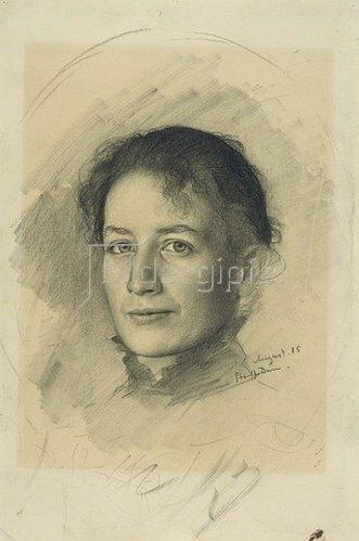 Karl Stauffer-Bern: Bildnis der Schwester des Künstlers, Marie Stauffer. 1885