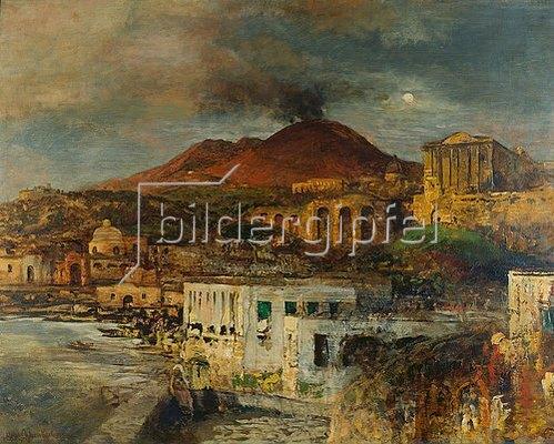 Oswald Achenbach: Abendliche Küstenlandschaft mit Vesuv. Um 1878/1888