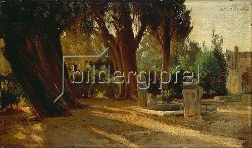 Oswald Achenbach: Italienischer Park mit Zisterne. 1850