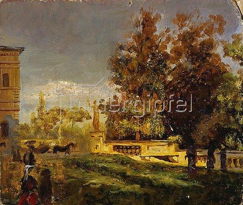 Oswald Achenbach: Im Park der Villa Borghese (Studie). Um 1886