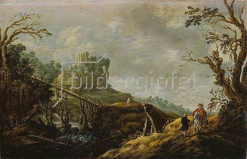 Pieter Jansz. van Asch: Flusslandschaft mit Holzbrücke und Ruine. 1655
