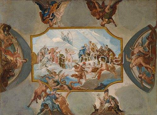 Antonio Bellucci: Huldigung an den Kurfürsten Johann Wilhelm von der Pfalz. Entwurf für eine Deckenmalerei auf Schloss Bensberg. 1708/09