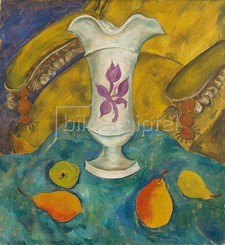 Walter Ophey: Stillleben mit weißer Vase und Früchten. Um 1924