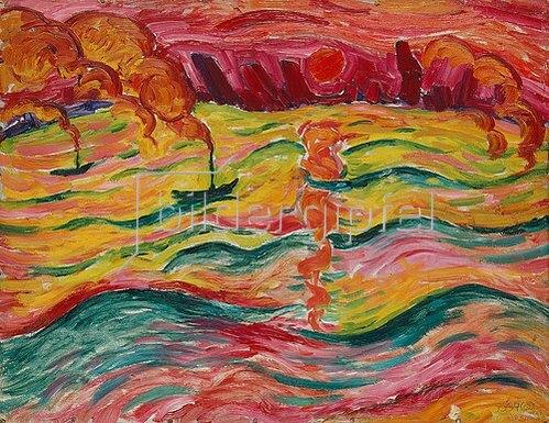 Walter Ophey: Flußlandschaft mit Schiffen und roter Sonne. Um 1913