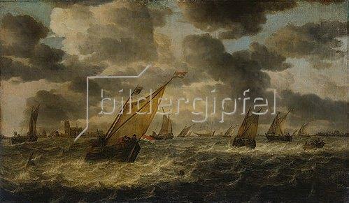 Abraham van Beyeren: Die Mündung der Maas mit Segelbooten und Ruderkahn, im Hintergrund Dordrecht. Ab 1640