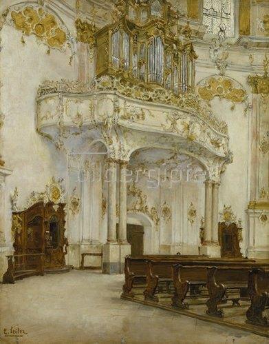Carl Seiler: Das Innere der Klosterkirche Ettal.