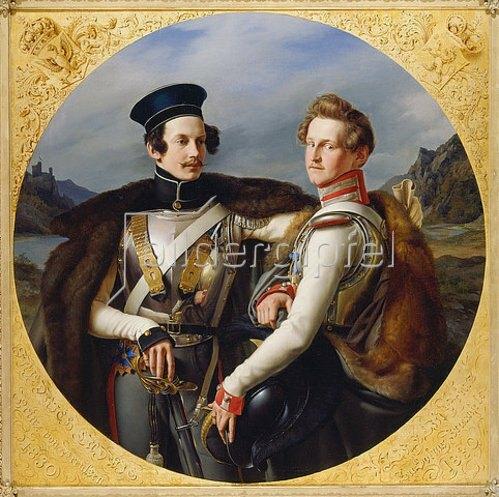 Friedrich Wilhelm von Schadow: Das Doppelbildnis der Prinzen Friedrich Wilhelm Ludwig von Preußen (1794-1863) und Wilhelm zu Solms-Braunfels (1801-1868) in Kürassieruniform. 1830