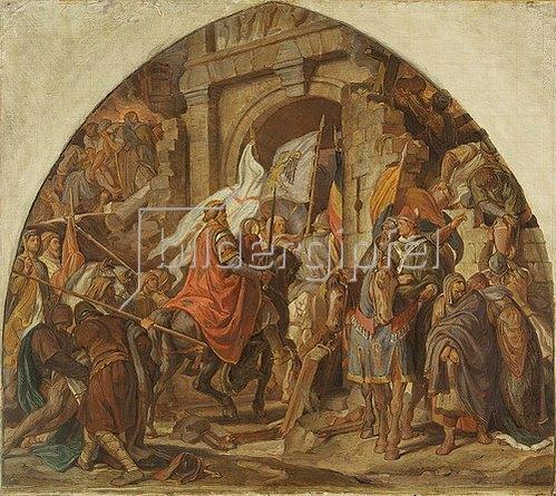 Alfred Rethel: Der Einzug Karls des Großen in Pavia. 1850