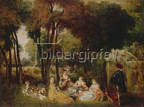 Jean Antoine Watteau: Ländliches Treffen neben einem Brunnen. (Les Champs Elysees). 1716/1717(?)