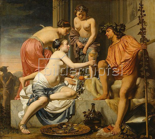 Caesar Boëtius Everdingen: Der thronende Bacchus - Nymphen reichen Bacchus Wein und Früchte. 1658/nach 1670