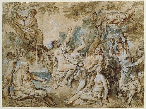 Jacob Jordaens: Nymphen und Satyrn bei der Obstlese. Um 1645/50