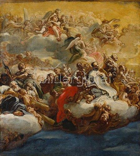 Giovanni Battista (gen. Baccicio) Gaulli: Heilige und Engel auf Wolken (Entwurf für das Kuppelfresko der Kirche Il Gesù in Rom). Um 1672/1673