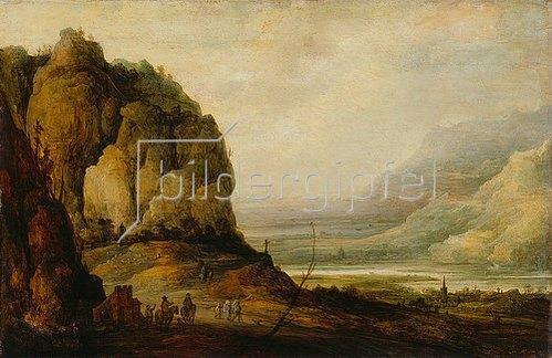Frans de Momper: Flusstal mit Stadt und Gebirge. Um 1640-1650