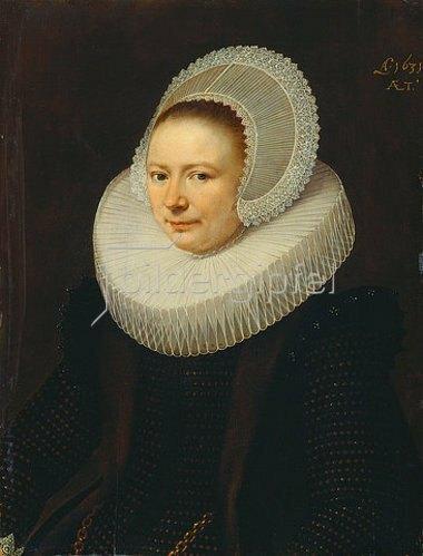 Paulus Moreelse: Bildnis einer Frau mit Diademhaube und Mühlsteinkragen, halbe Figur nach links. 1631