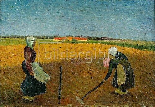 Wilhelm Morgner: Drei Frauenauf abendlichem Feld. / Three women on vespertine Field. Um 1909/10