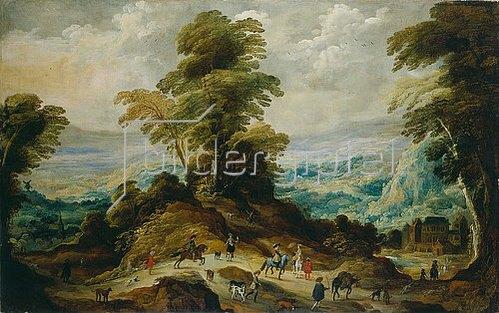 Josse de Momper II: Gebirgslandschaft mit Jagdgesellschaft. Ab 1620