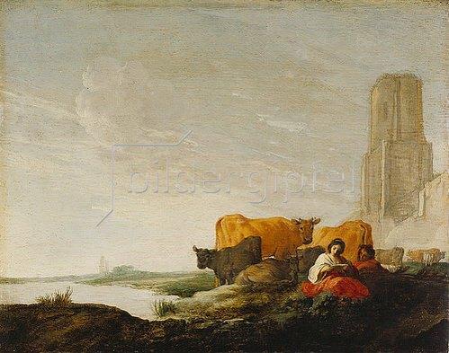 Moyses van Uyttenbroeck: Landschaft mit Hirtin und Hirt. Um 1645