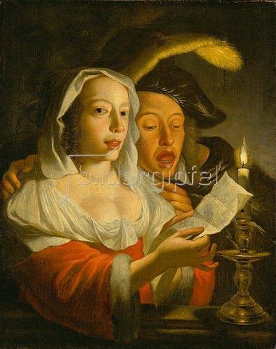 Jan Vermeer van Utrecht: Singendes Paar bei Kerzenlicht.