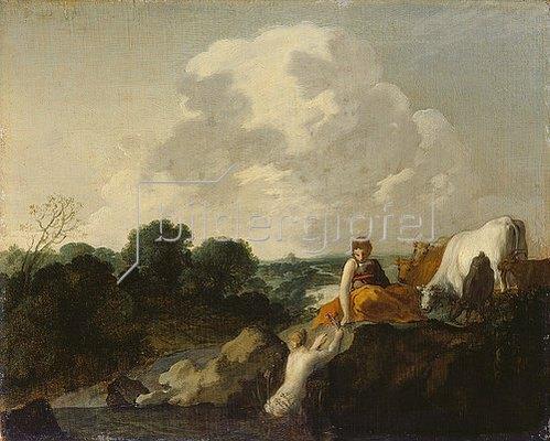Moyses van Uyttenbroeck: Landschaft mit Hirtin und Nymphe. Ca. 1645