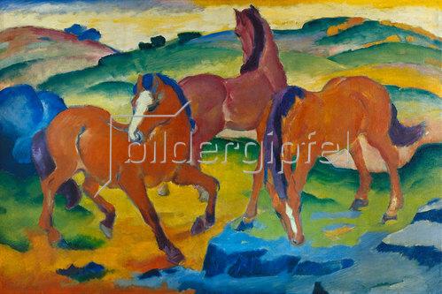 Franz Marc: Die roten Pferde (Weidende Pferde IV.) 1911.
