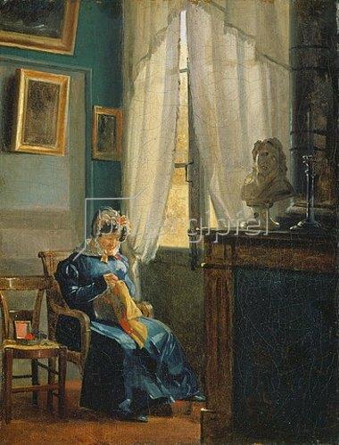 Peter Schwingen: Frau am Fenster. Um 1837