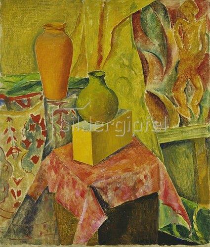 Walter Ophey: Zwei Vasen mit rotem Tuch. Um 1923