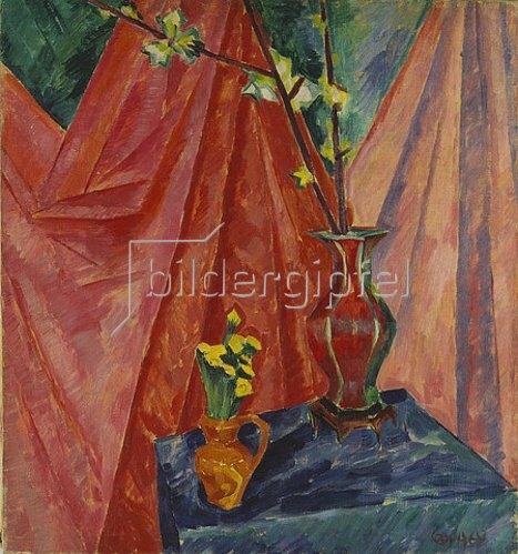 Walter Ophey: Stillleben mit Huflattich und Kirschblüten. 1914-1919