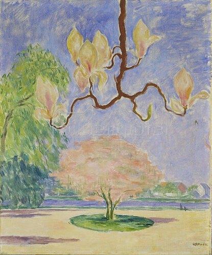 Walter Ophey: Landschaft mit Magnolienzweig. Um 1926