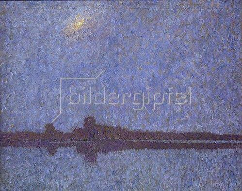 Walter Ophey: Rheinlandschaft im Nebel mit Sonne. 1909