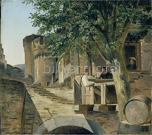 Adolf Schroedter: Rheinischer Burghof (Trinkszene in einem Burghof). 1835