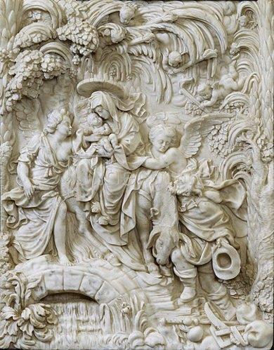Gabriel Grupello: Die heilige Familie auf der Flucht nach Ägypten. Vor 1711