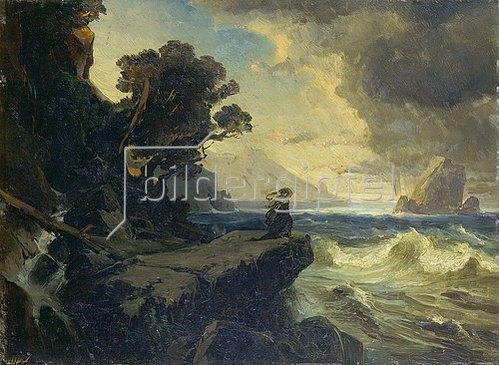 Friedrich Preller d.Ä.: Klassische Landschaft mit Frau an Felsküste (Studie). Um 1875