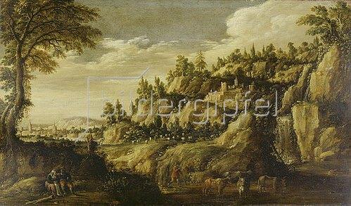 Marten Ryckaert: Gebirgige Landschaft mit Stadt und rastendem Paar. Um 1610
