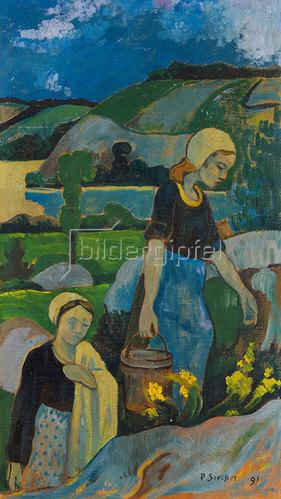 Paul Serusier: Junge Wäscherinnen, vom Fluß zurück- kehrend. 1891.