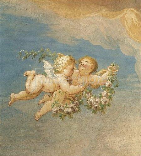 Joseph Anton Merz: Zwei Putten mit Blumen. 1727