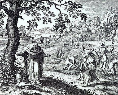 Matthäus Merian d.Ä.: Ruth bei der Ährenlese auf den Feldern des Boas. Um 1625