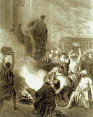 Gustave Doré: Der heilige Paulus auf Ephesus. Die Verbrennung von Hexen- und Zauberbüchern.