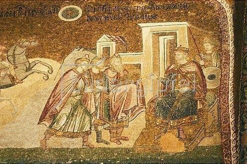 Byzantinisch: Die drei Weisen aus dem Morgenland vor Herodes. 1315-1321