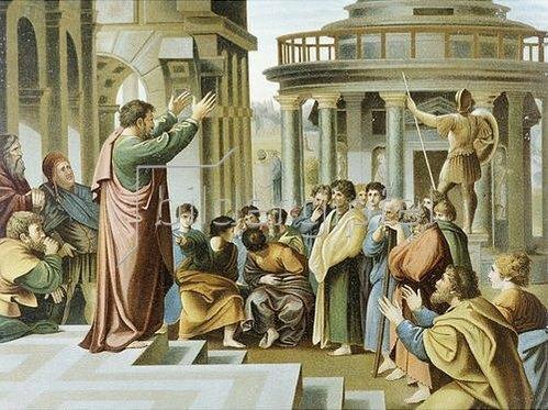 Raffael (Raffaello Sanzio): Allioli-Bibel um 1900 Paulus predigt in Athen.